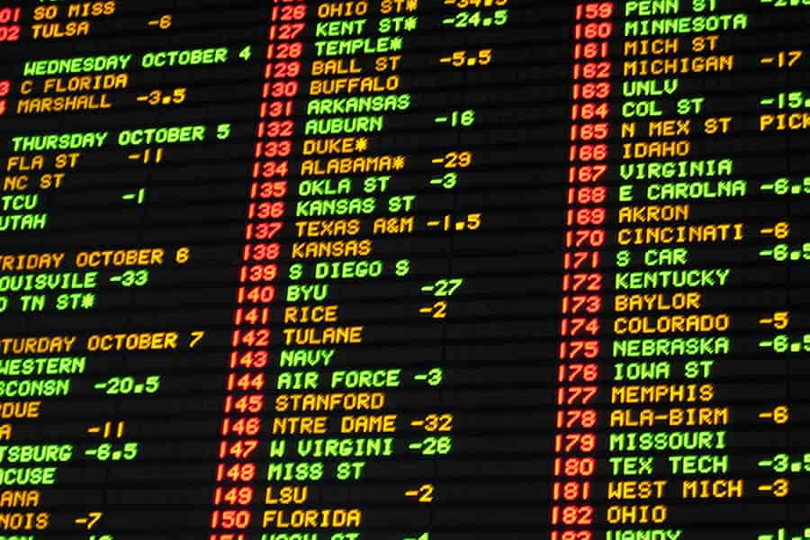 A board showing sports odds