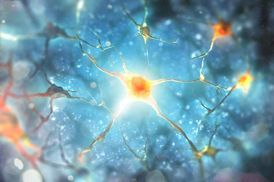A rendering of neurons firing